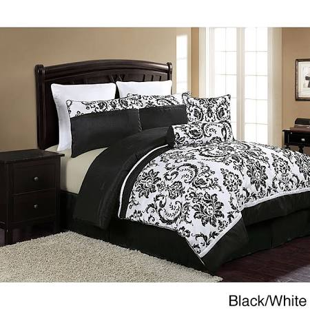 Daniella 8-piece Comforter Set (Queen-Black/White)