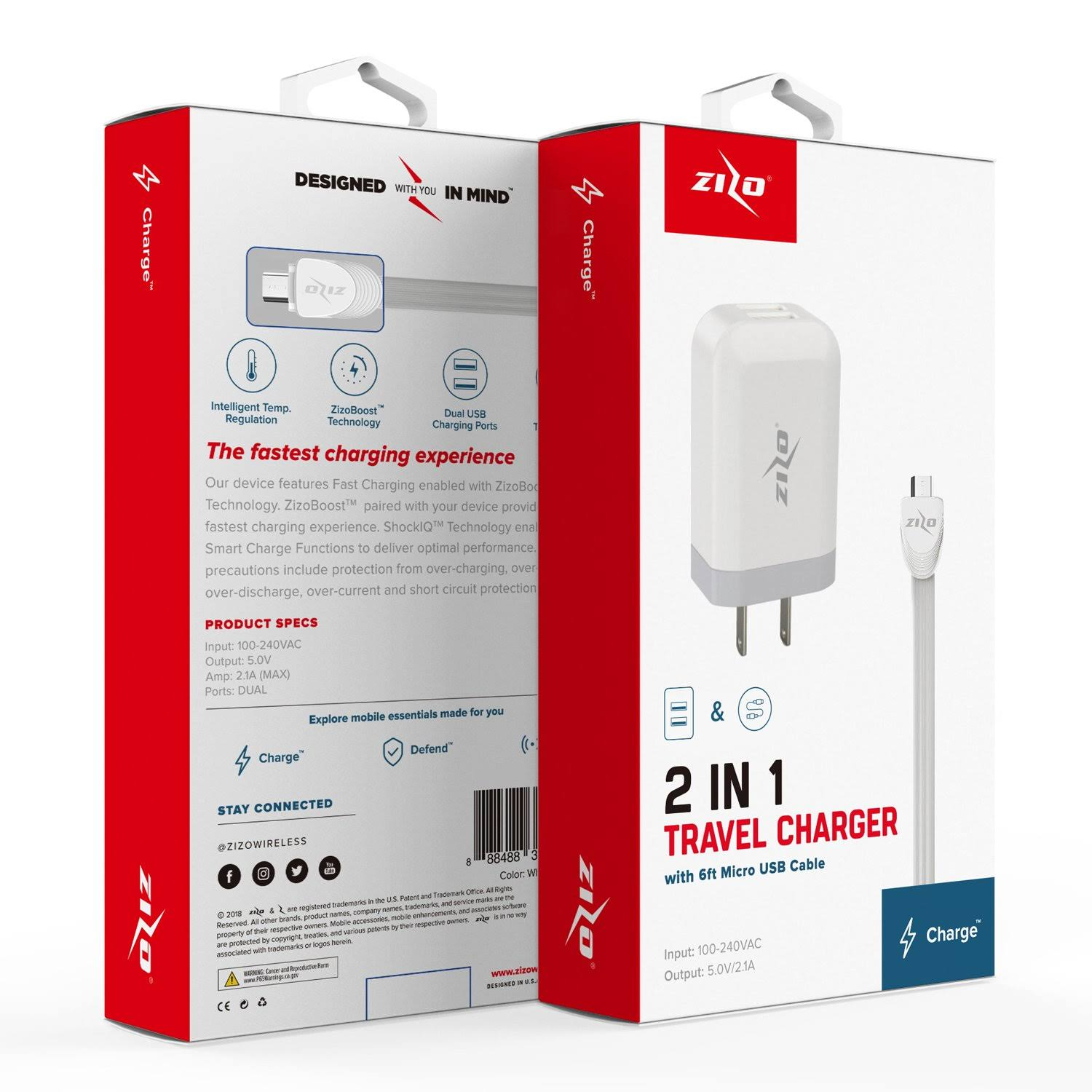 Zizo ZizoCharge 2in1 H10 Adapter and 6ft Micro USB Cable Bundle White