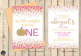 Boos Pumpkin Patch Nebraska City by Sweet Little Pumpkin Pink And Gold Pumpkin Birthday Invitation