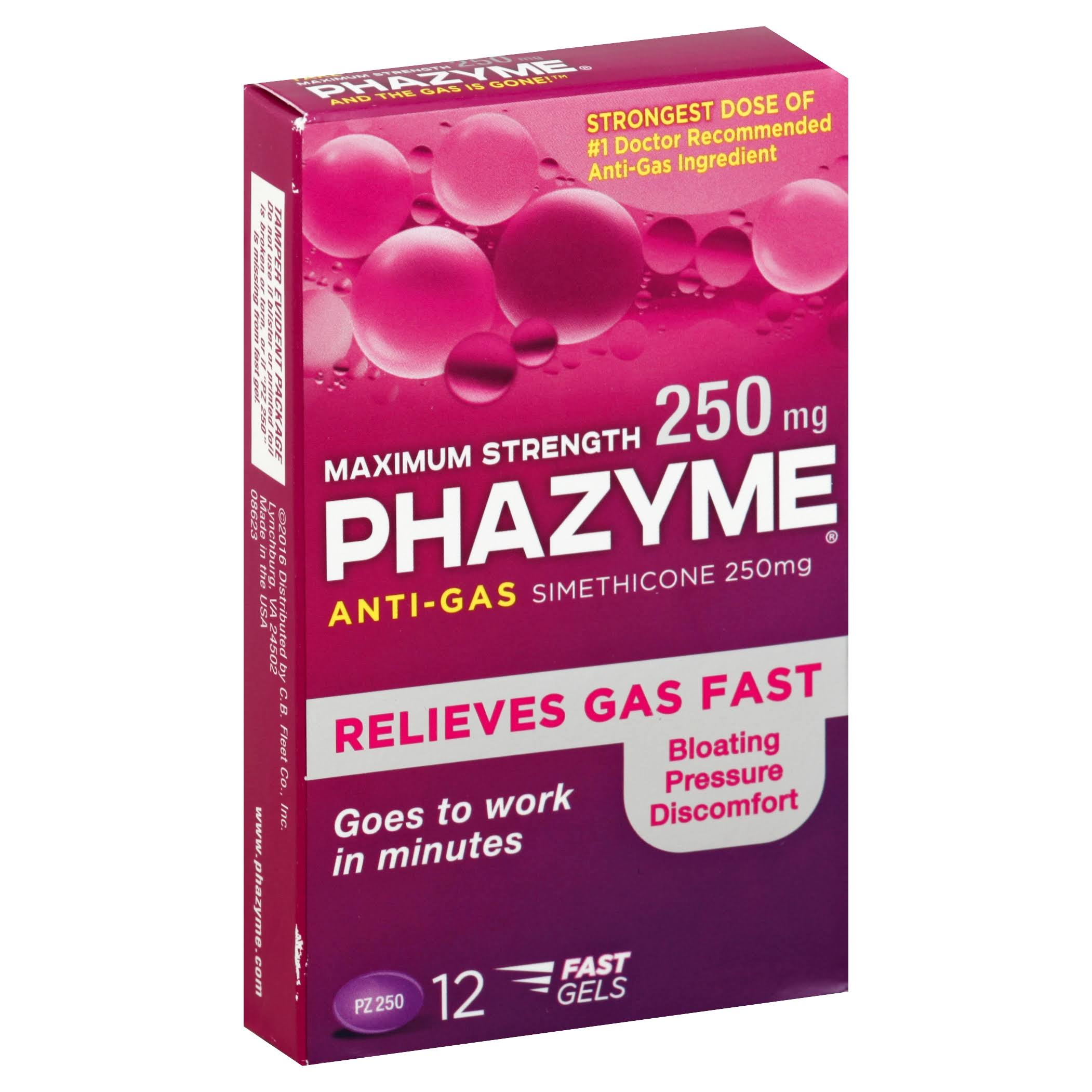 Phazyme Anti-Gas Simethicone Soft Gels - 250mg, 12 Soft Gels