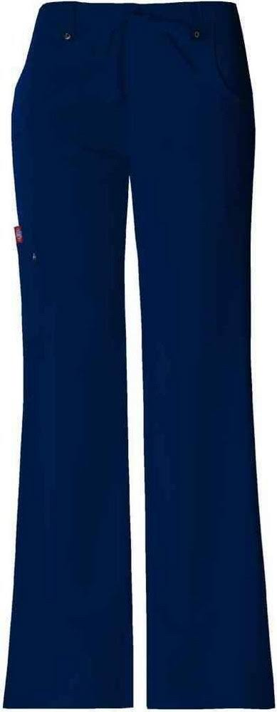 Dickies Women's Xtreme Stretch Fit Drawstring Flare Leg Pants - Navy, Large