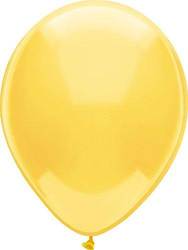 PartyMate 76514 Solid Color Latex Balloons, 72 Count, Lemon Yellow