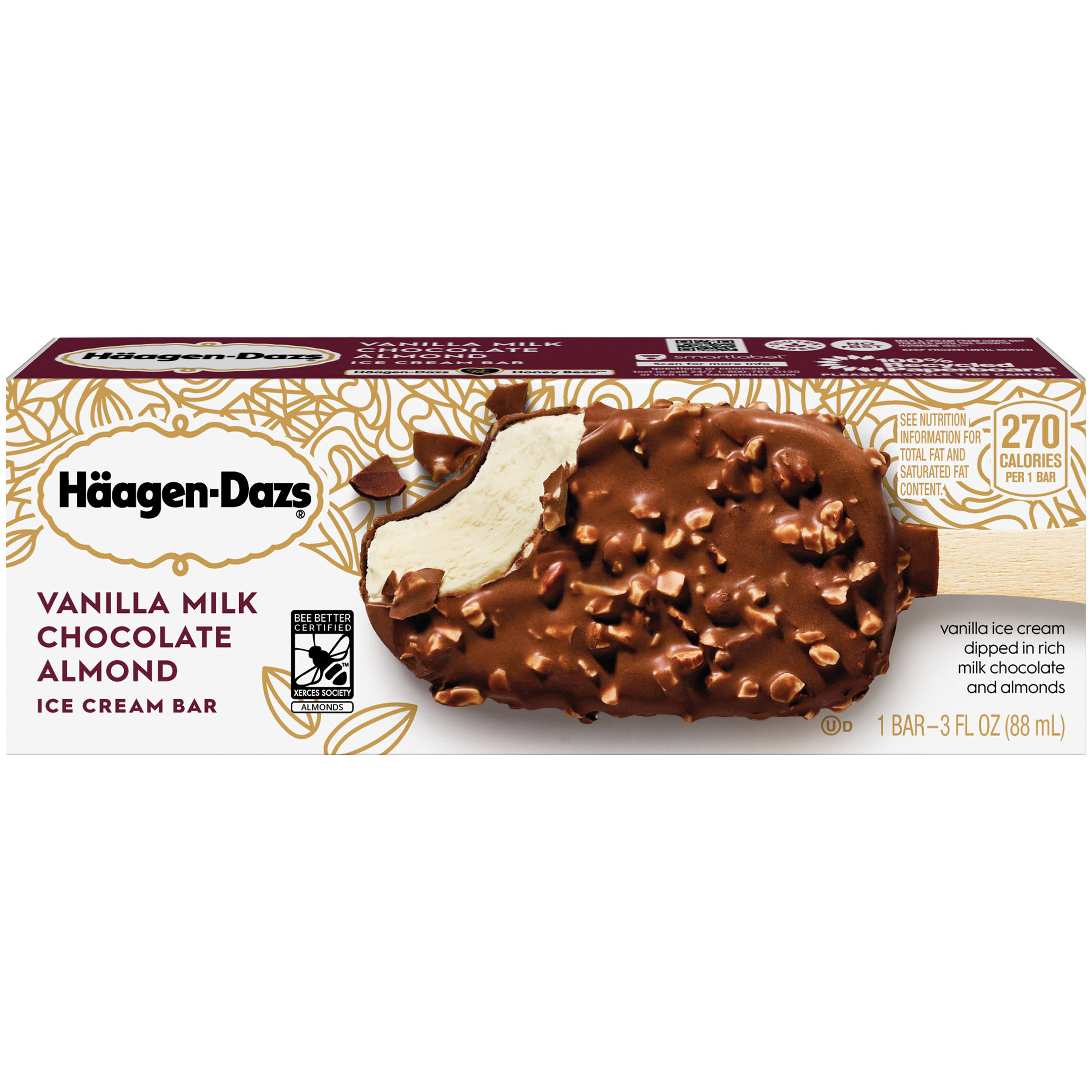 Haagen-Dazs Ice Cream Bar - Vanilla Milk Chocolate Almond, 3oz
