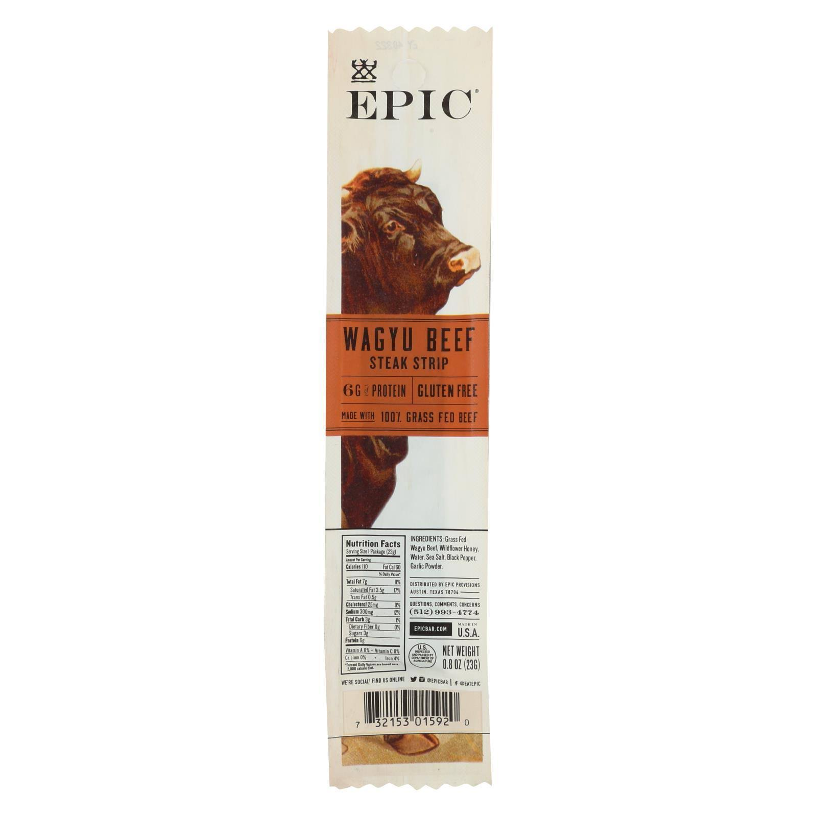 Epic Wagyu Beef Steak Snack Strip - 0.8 oz packet