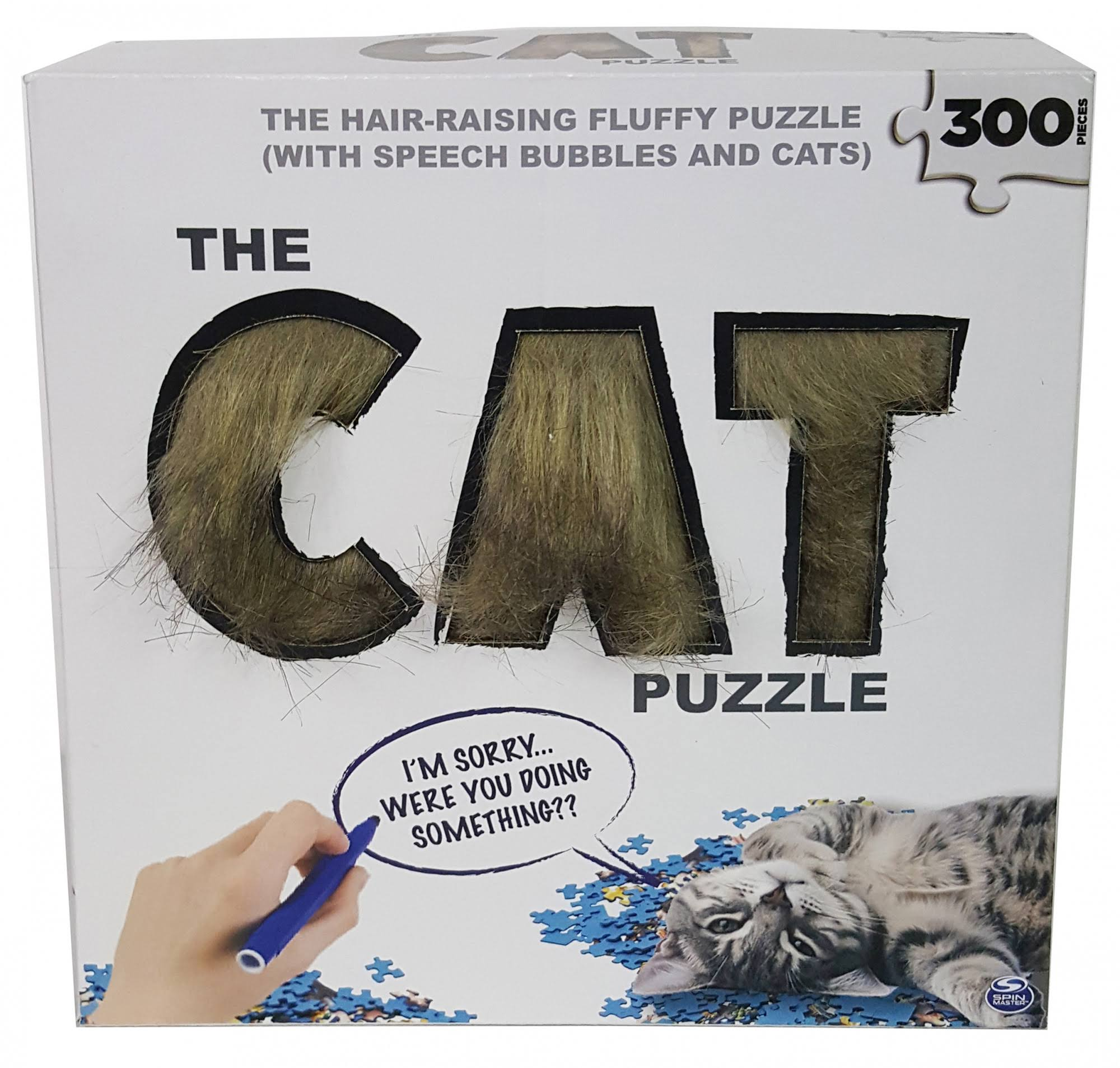 300-Piece Cat Puzzle with Faux Fur and Dry-Erase Speech Bubbles