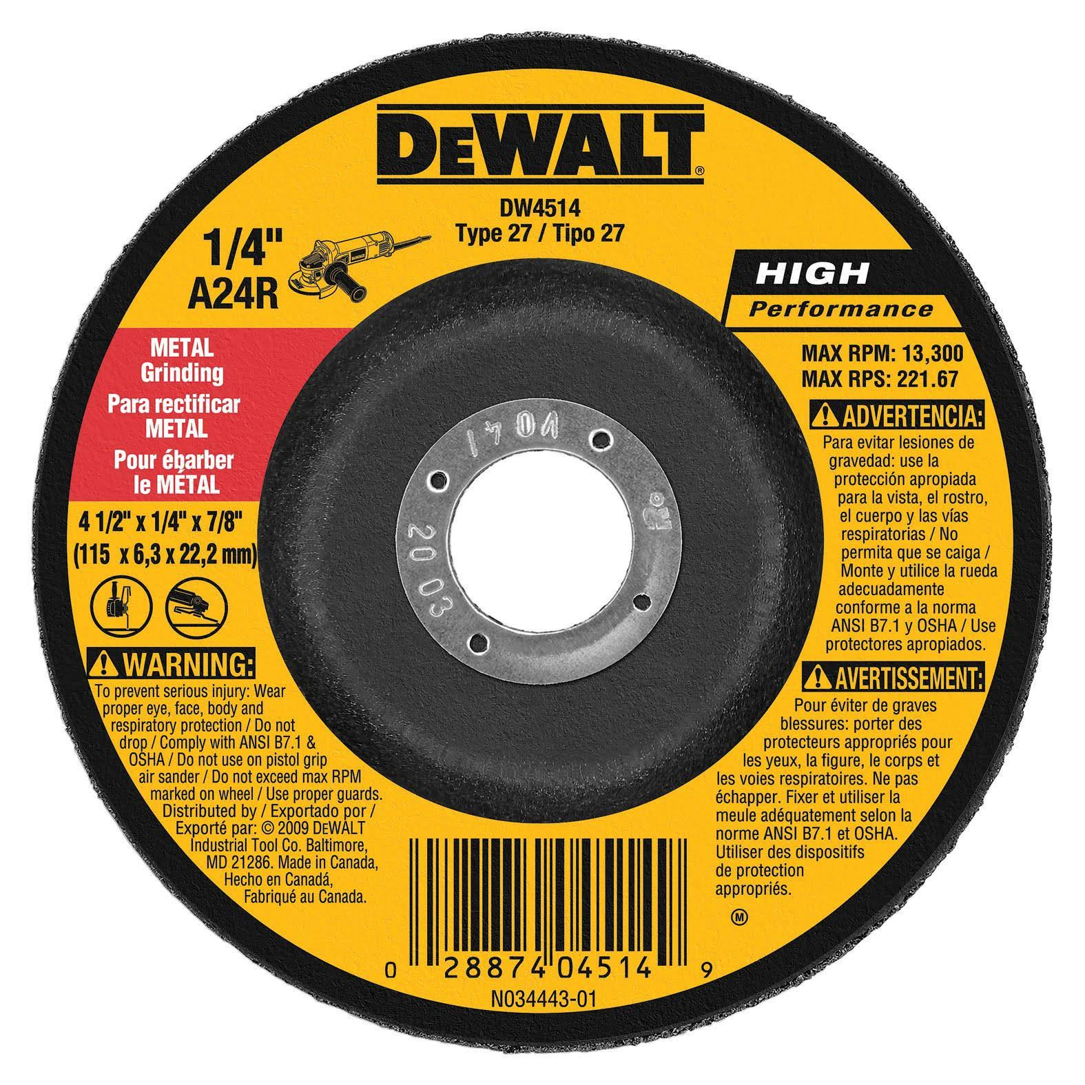 DeWalt DW4514 Hi-Performance Metal-Grinding Wheel - 4 1/2 x 1/4 x 7/8 in