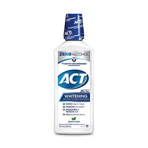 ACT Fluoride Mouthwash, Anticavity, Whitening, Gentle Mint - 16.9 fl oz
