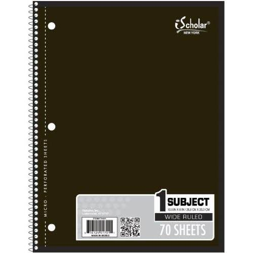 "iScholar 1-Subject Wirebound Notebook - 10.5"" x 8"", 70 Sheets"