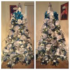 Frontgate Christmas Trees by White Deco Mesh Tree With Blue Ribbon Decorated With Silver And