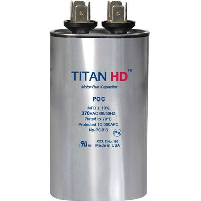 TitanHD POC5A American-Made HVAC Oval Motor Run Capacitor. 5 Mfd/uf 370 Volts