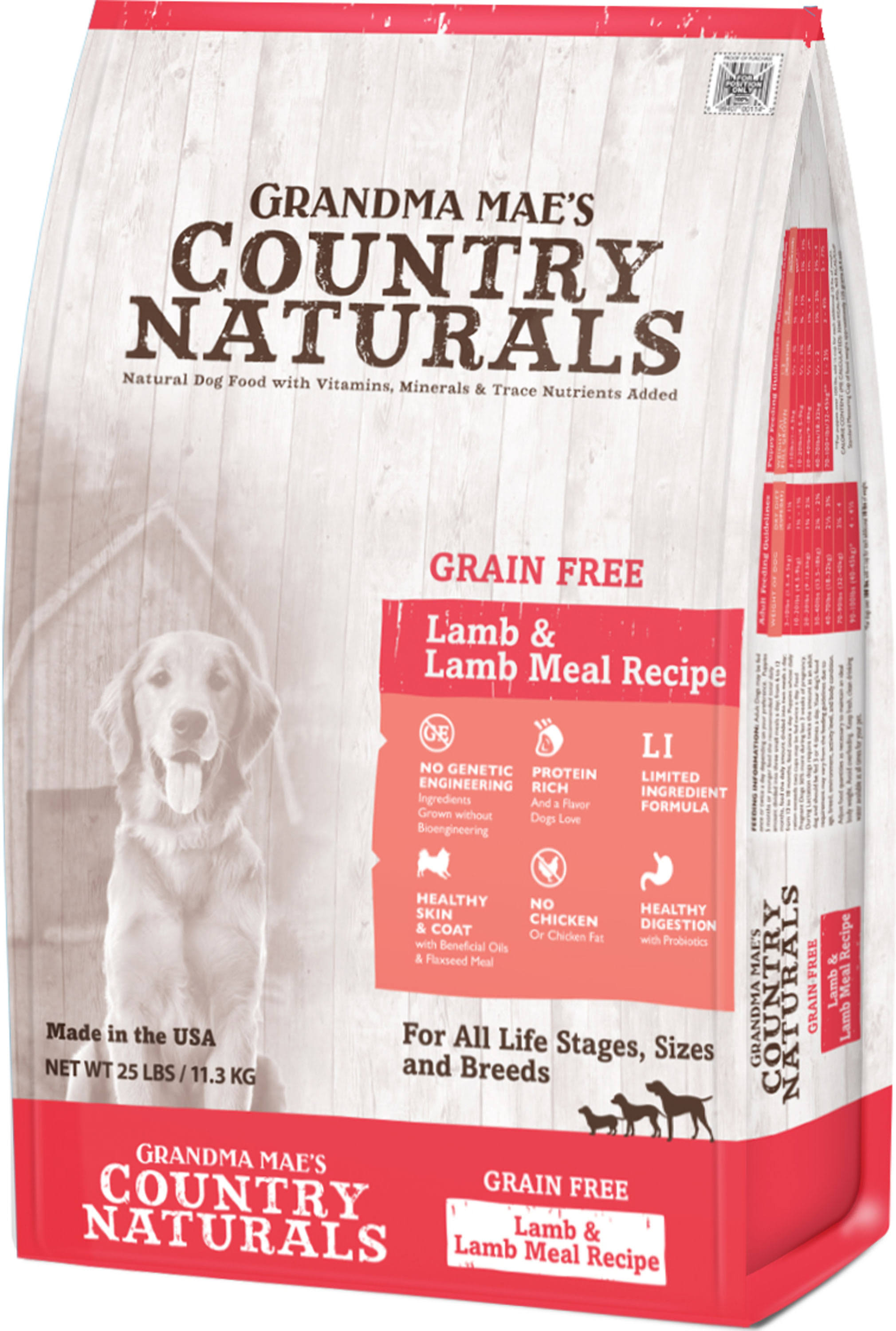 Grandma Mae S Country Nat Country Naturals Grain Free Limited Ingredient Dog Lamb 25 lb