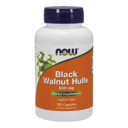 Now Foods Black Walnut Hulls Supplement - 500mg, 100 Capsules