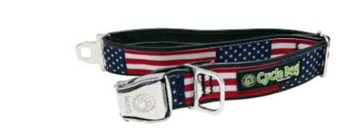 Cycle Dog USA Flag Design Dog Collar with Bottle Top Opener - L
