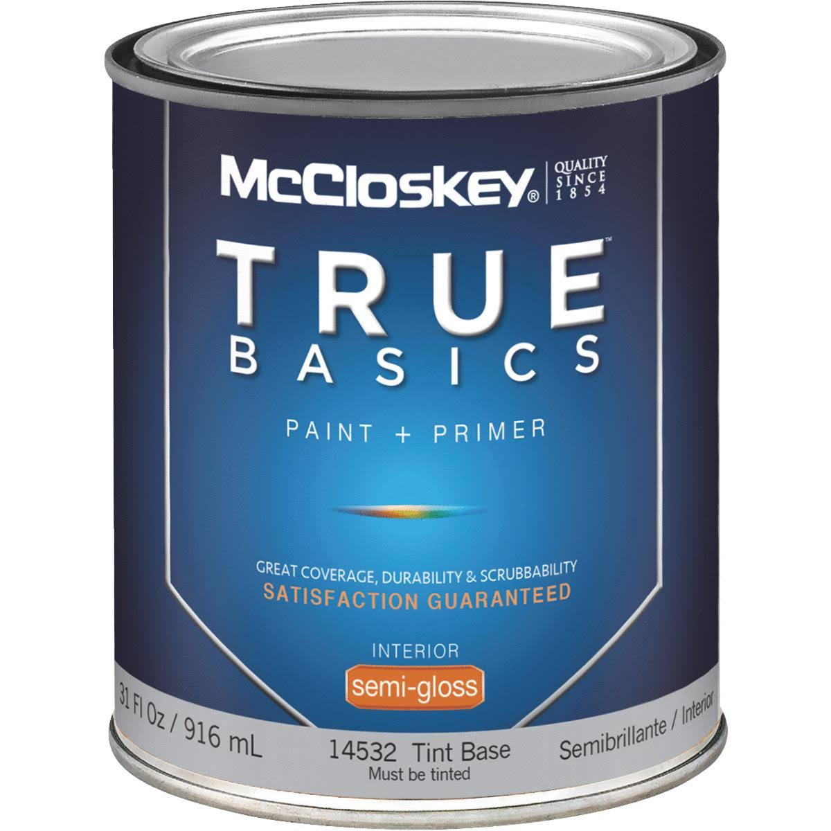 McCloskey 14532 True Basics Interior Latex Semi-Gloss Paint, Tint Base