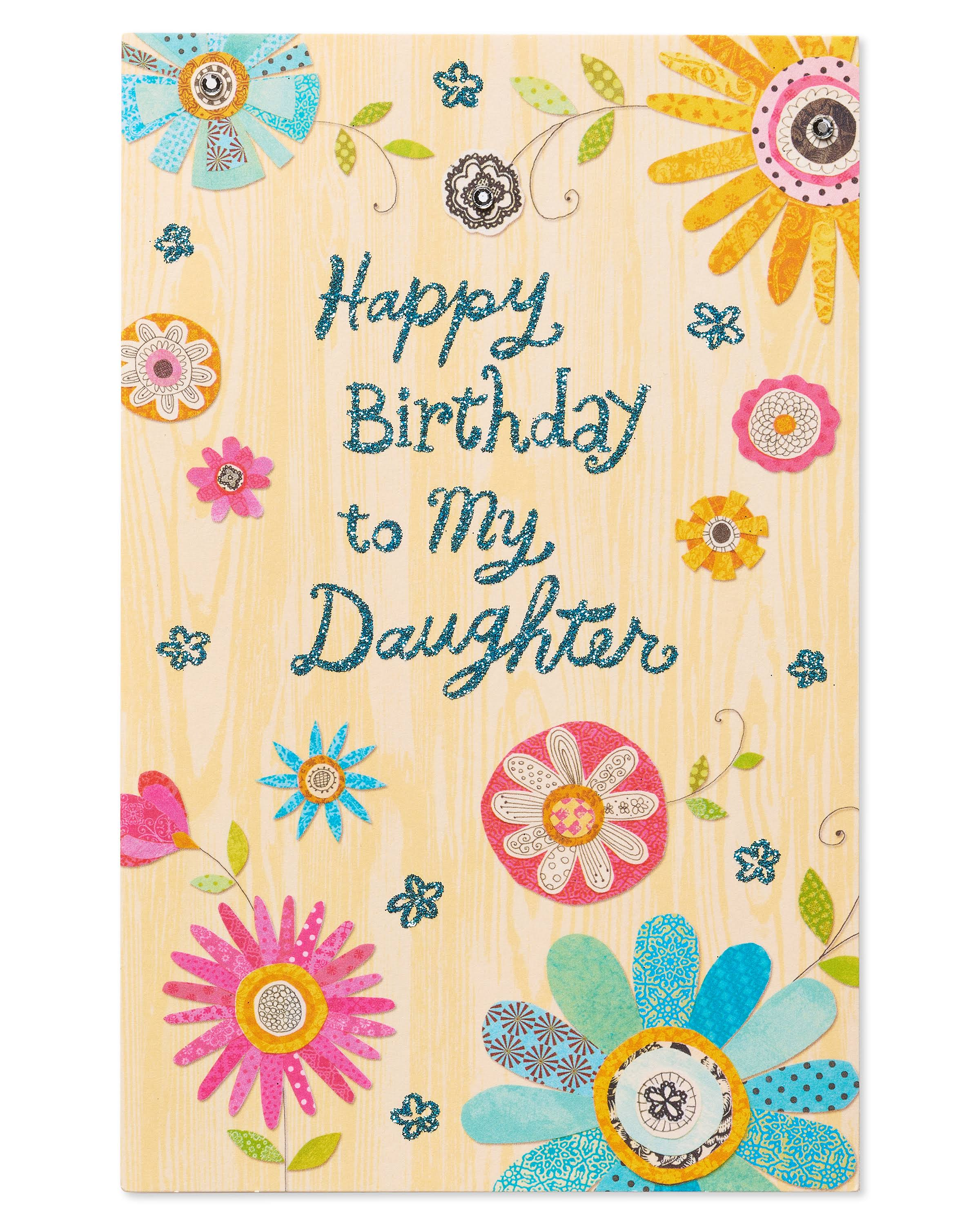 American Greetings Colorful Flowers Birthday Card for Daughter with Rhinestone