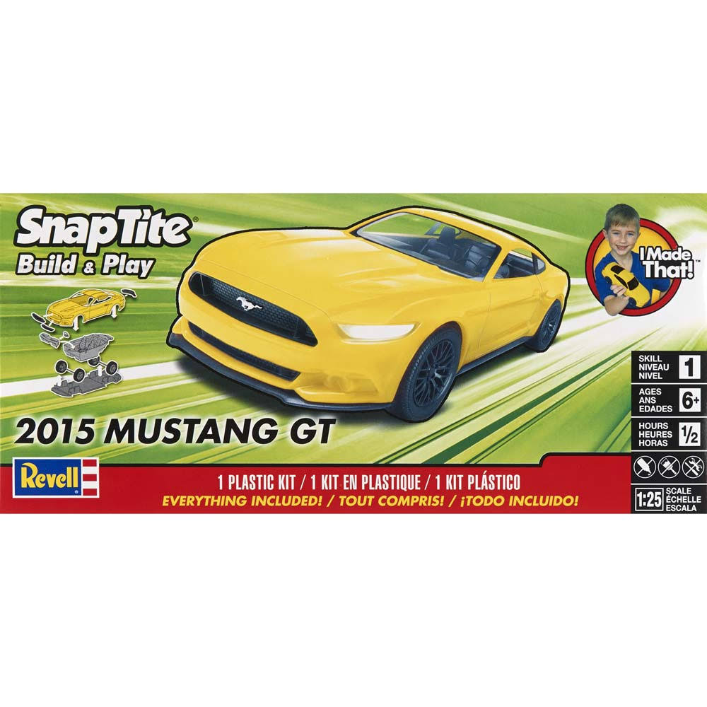 Revell 2015 Ford Mustang GT Model Car Kit - Yellow, 1/25 scale