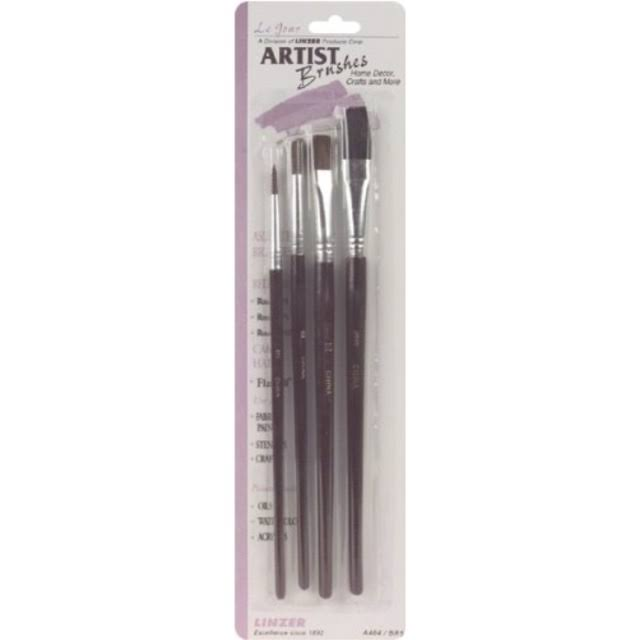 J.R. Edwards Artist Brush Set - Red Sable and Camel Hair, 4pk