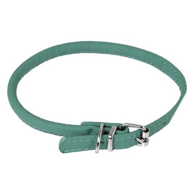 Dogline Round Soft Leather Dog Collar, Teal, 8-10 in, 1/4-In