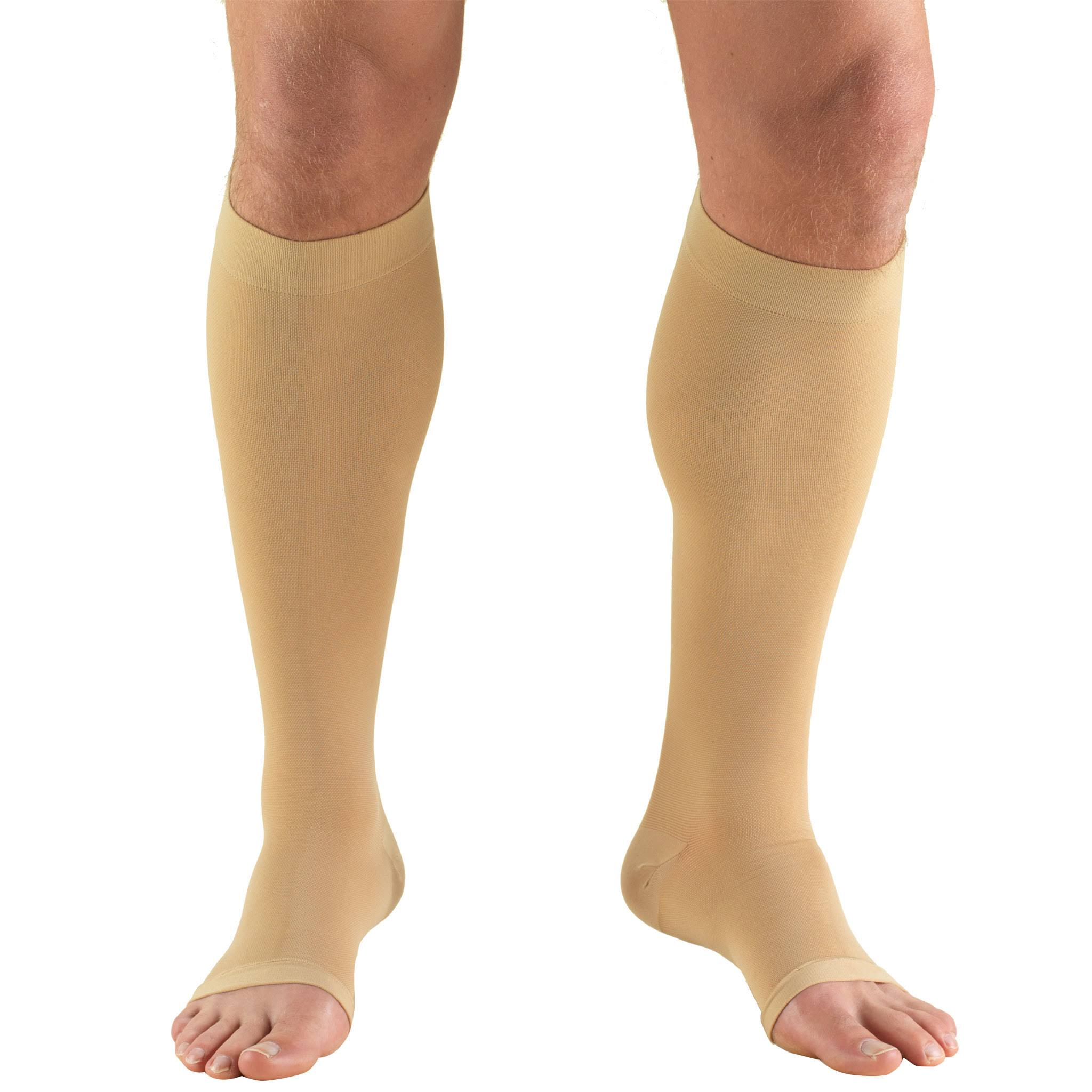 Truform 0865 Open Toe Knee High Compression Stockings - Beige, Large