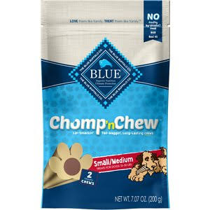 Blue Chomp 'n Chew Treats for Dogs, Meaty Chews, Small/Medium - 2 chews, 7.7 oz