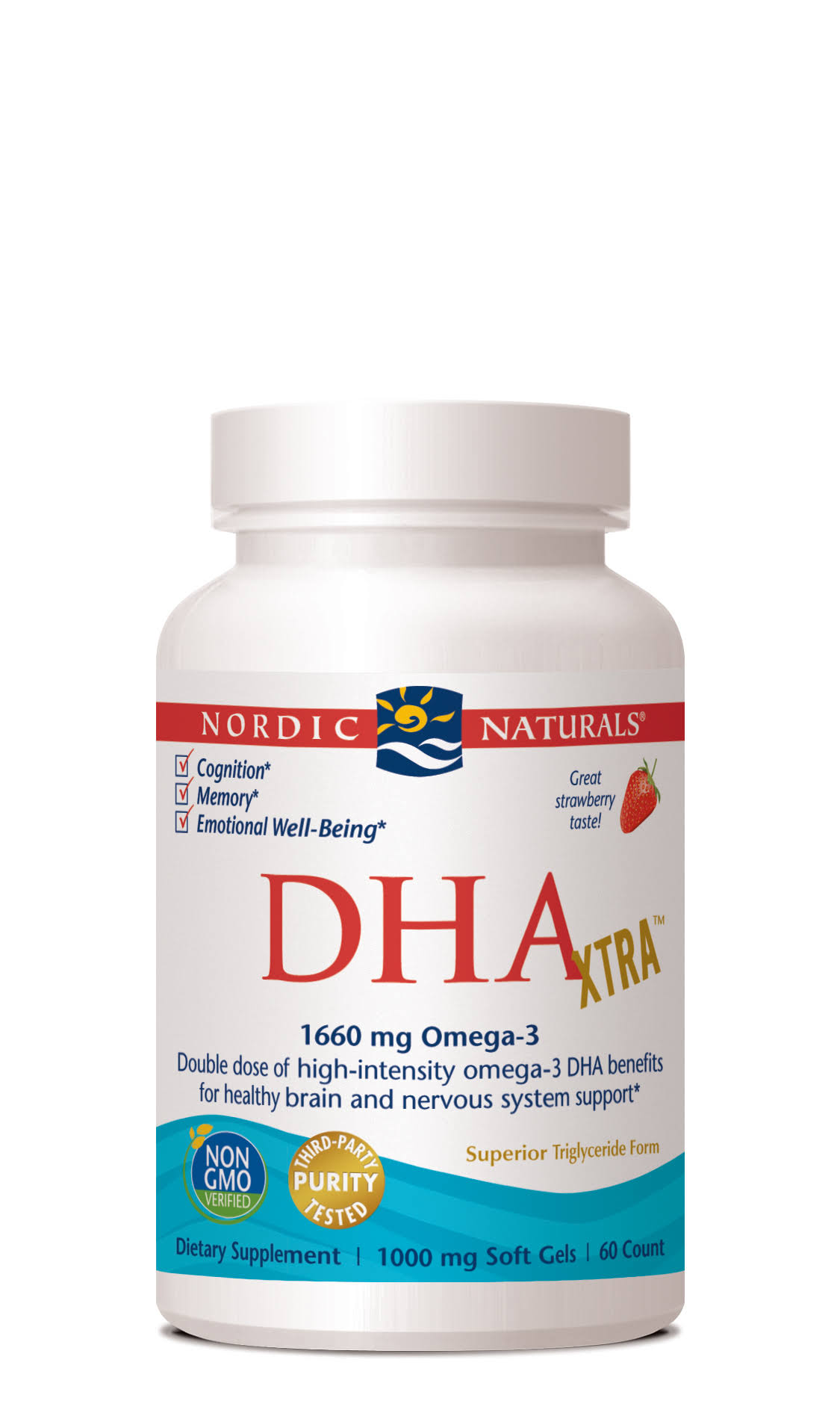 Nordic Naturals DHA Xtra Supplement - 60 Soft Gels, Strawberry
