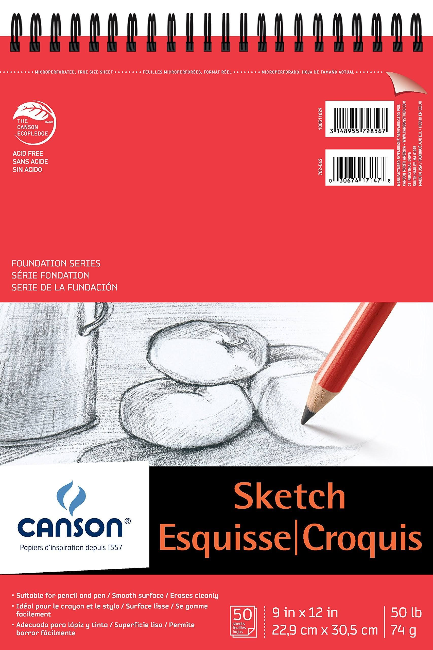 "Canson Foundation Series Sketch Pad, 9""X12"" Top Wire"