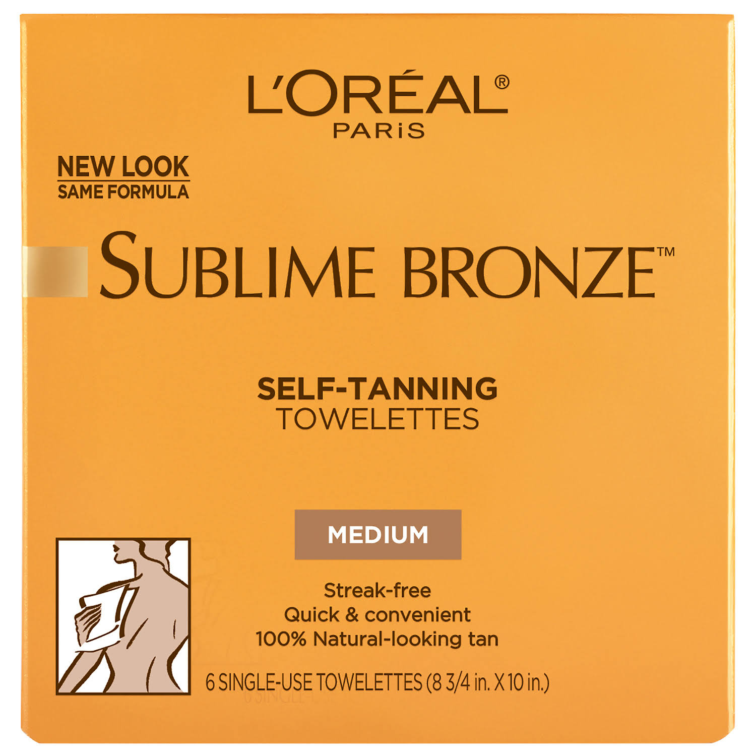 L'Oréal Sublime Bronze Self-Tanning Body Towelettes - 6 Towelettes, Medium, Natural Tan