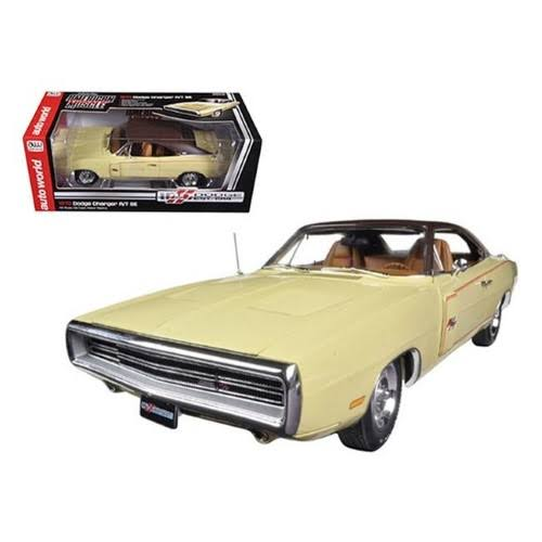 1970 Dodge Charger Rt/se 440 Six Pack Cream Dodge 100th Anniversary Limited to 1250pc 1/18 Diecast Car Model by Autoworld