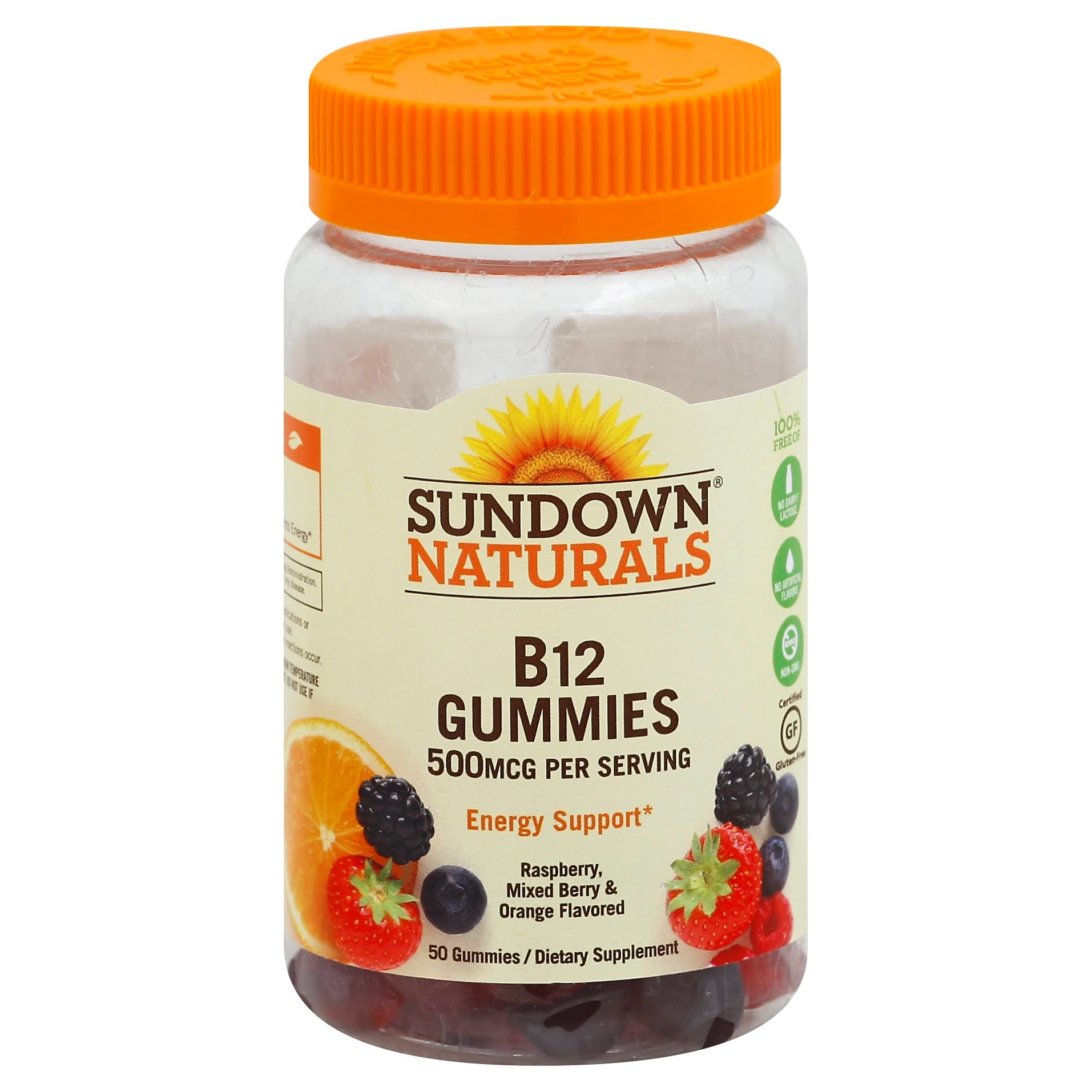 Sundown Naturals Vitamin B-12 Energy Support Supplement - 50 Gummies, Assorted Fruit