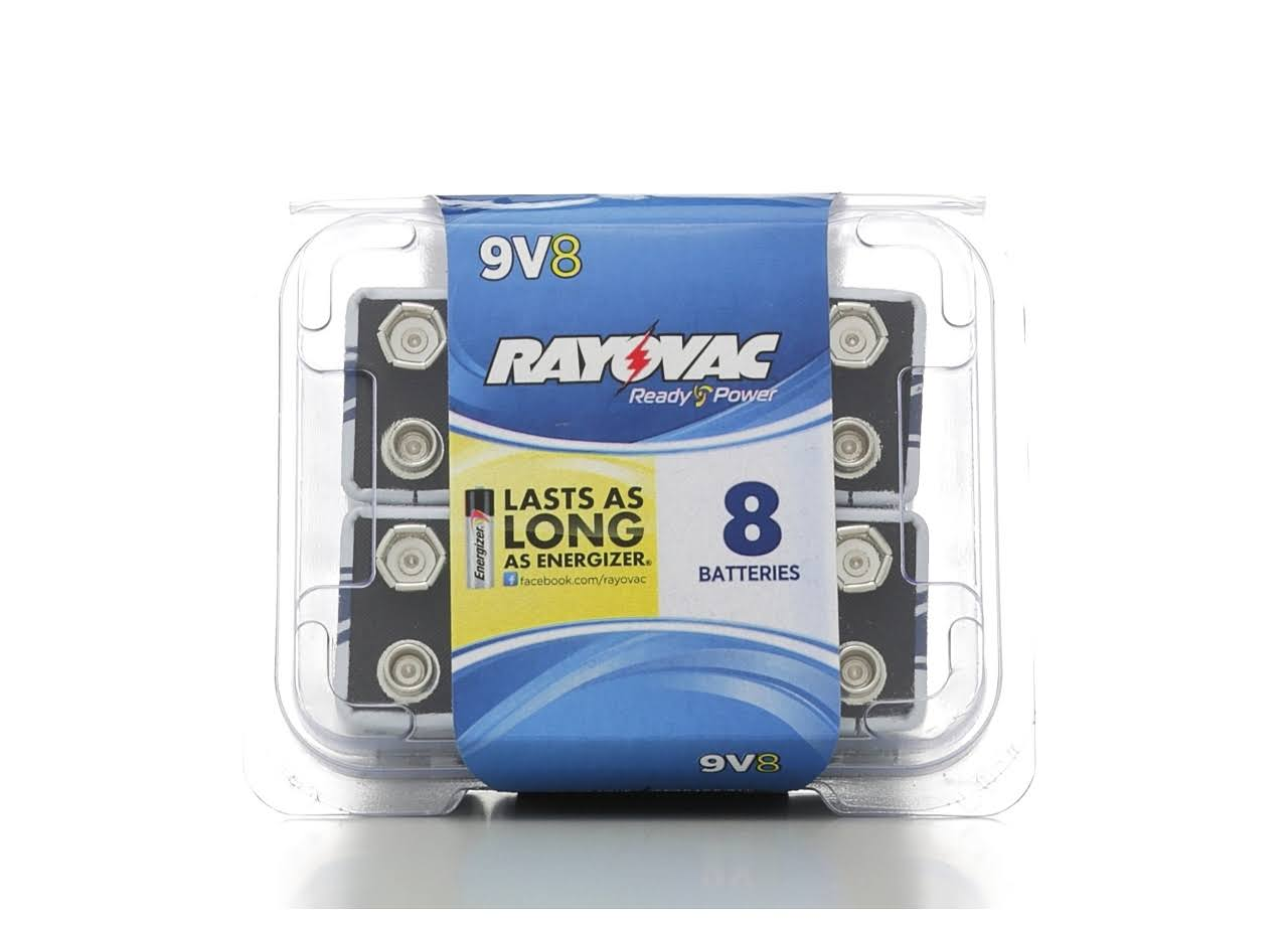 Rayovac Alkaline Batteries - 9V, 8 Pack