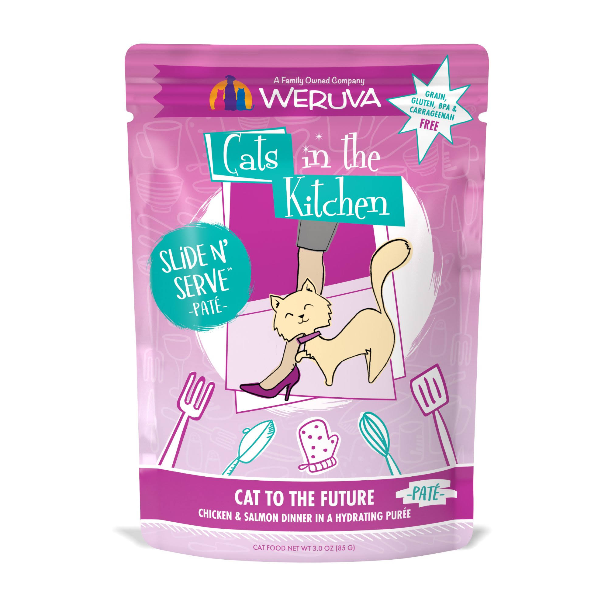 Weruva Cats in The Kitchen Pate Cat to The Future Chicken & Salmon Dinner in A Hydrating Puree Wet Cat Food, 3 oz., Case of 12