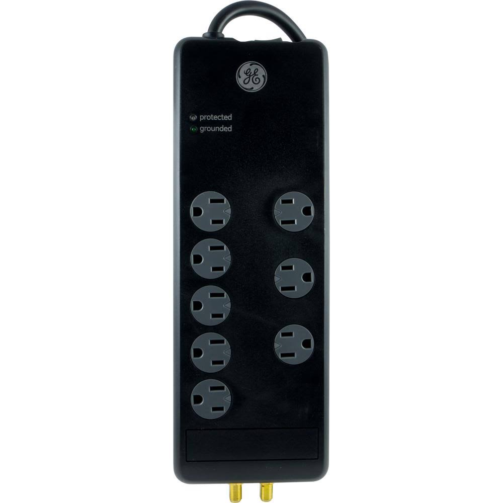 GE 33666 8-Outlet Pro Surge Protector - Black, 4'
