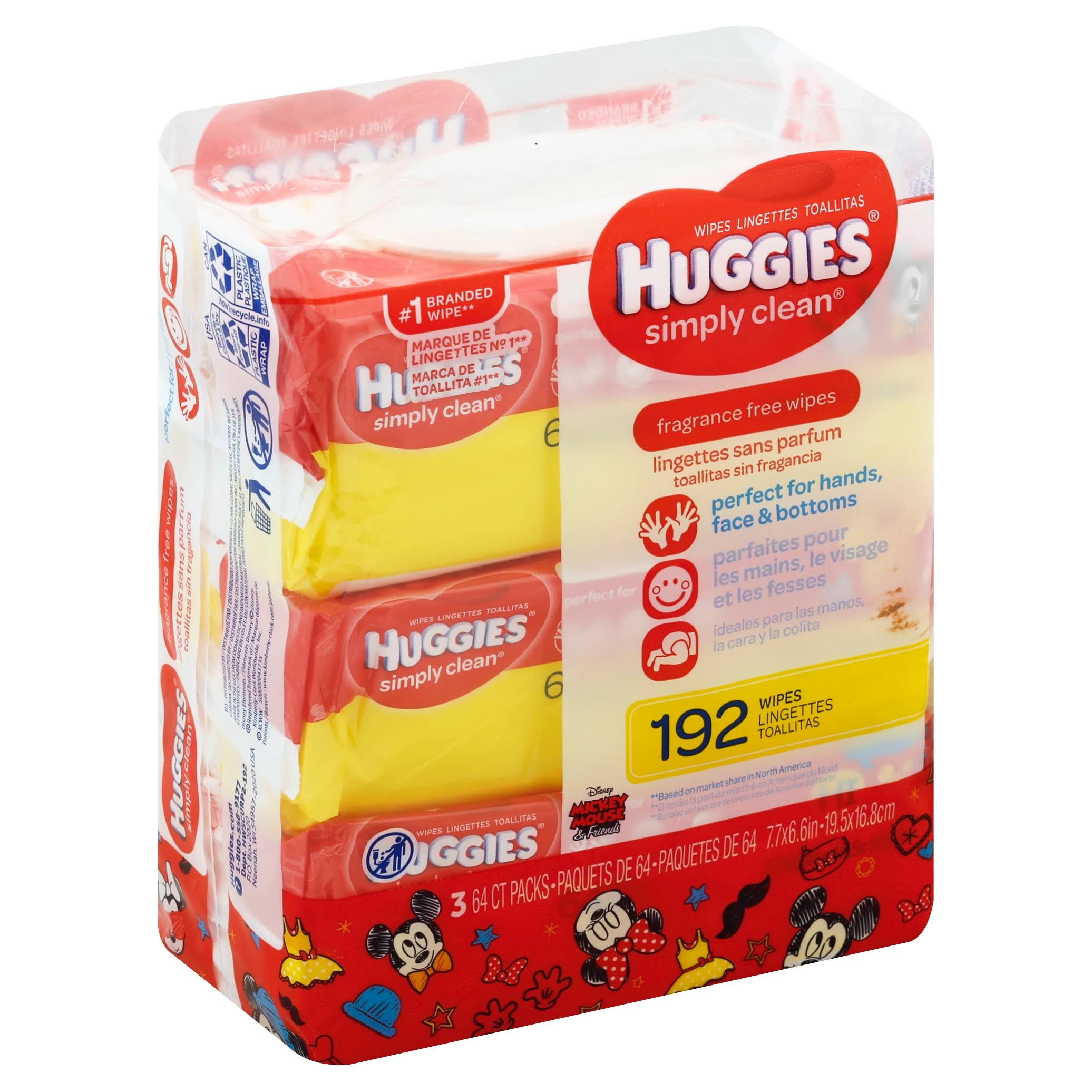 Huggies Simply Clean Fragrance-Free Baby Wipes - 193 Wipes, 3 Packs