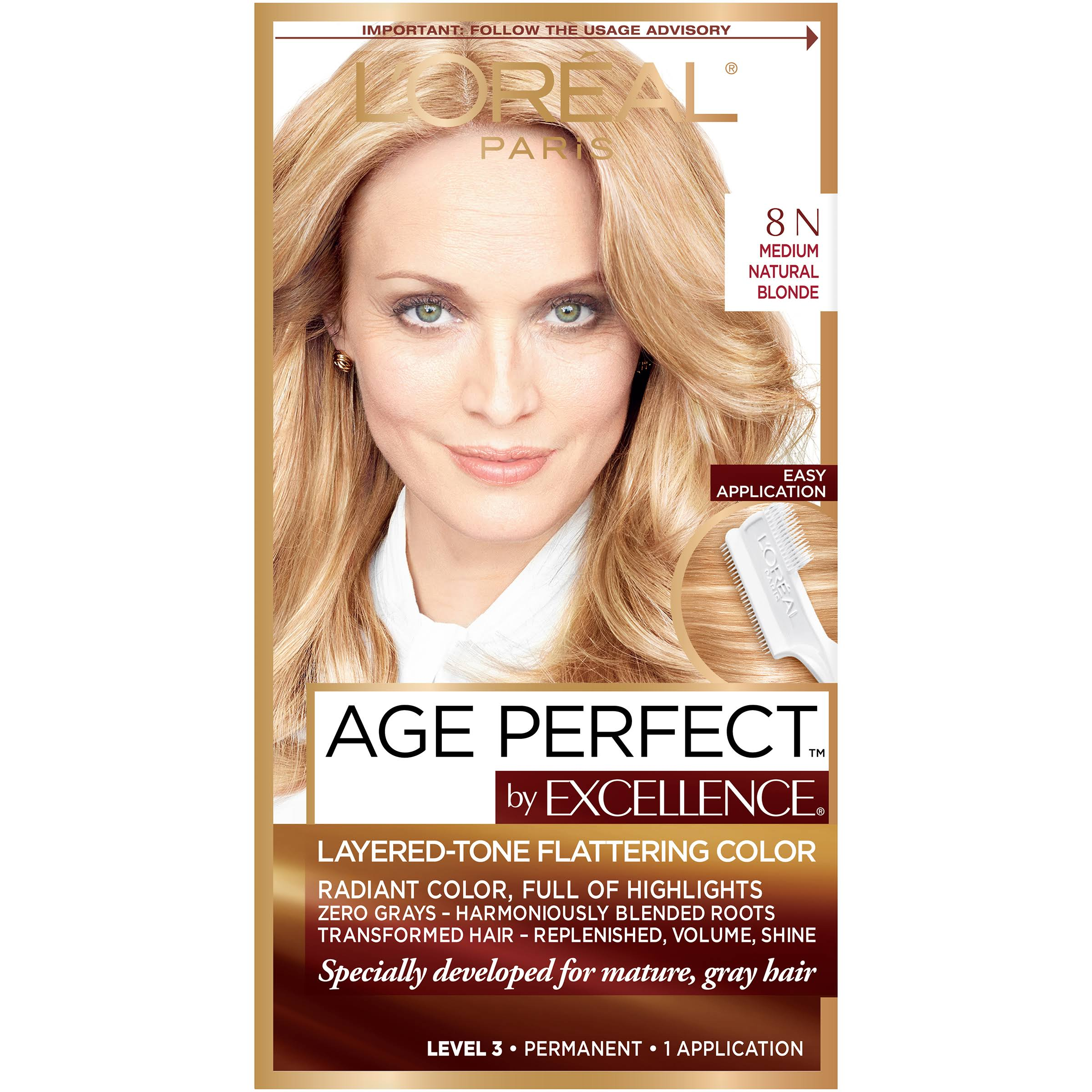 L'Oreal Paris Excellence Age Perfect 8N Medium Natural Blonde Hair Color