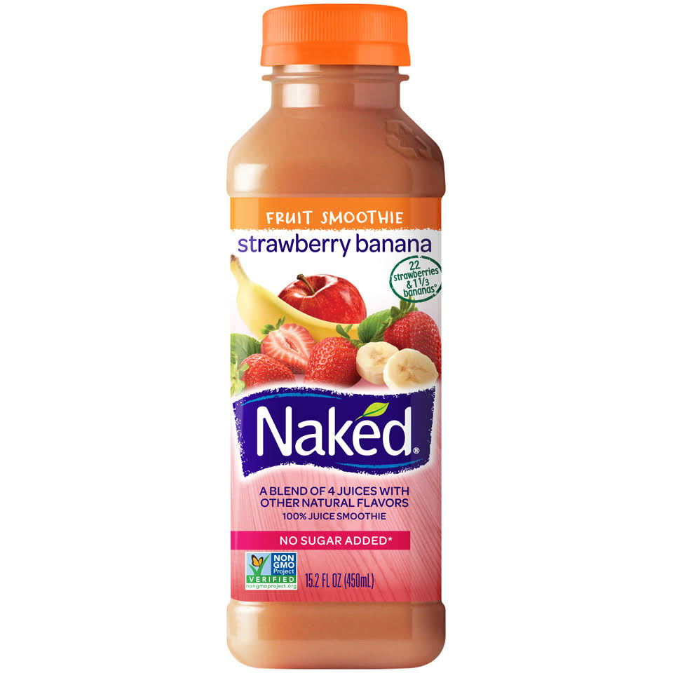 Naked 100% Juice Smoothie - 15.2 oz, Strawberry Banana