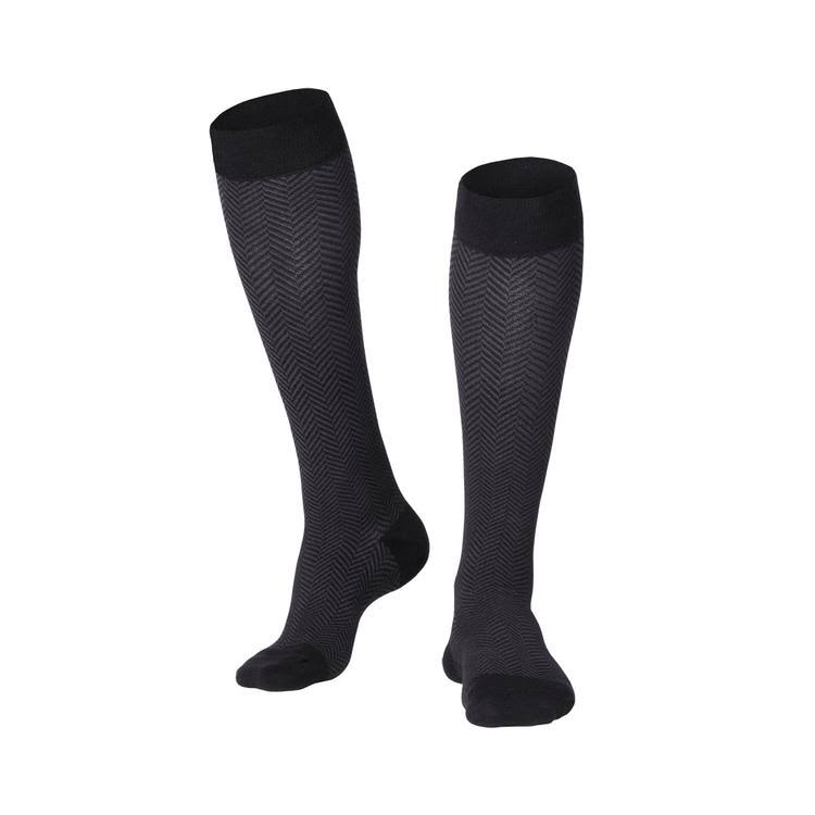 Touch Men's Knee High Compression Socks - Black Herringbone, Large, 15-20 mmHg