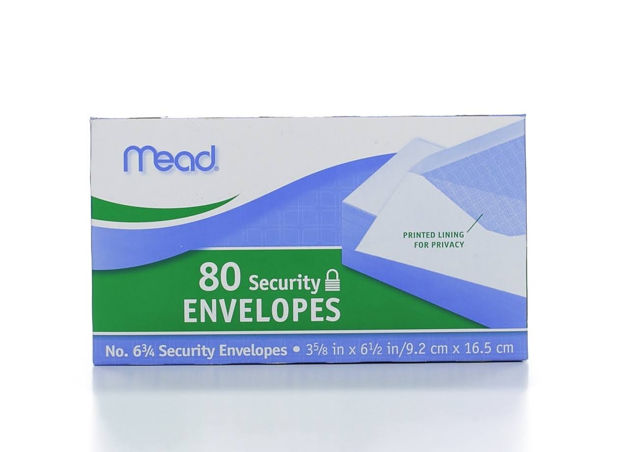 Mead Security Envelope - 80 Security Envelopes, White