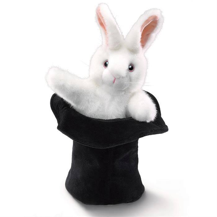 Folkmanis Rabbit In Hat Hand Puppet