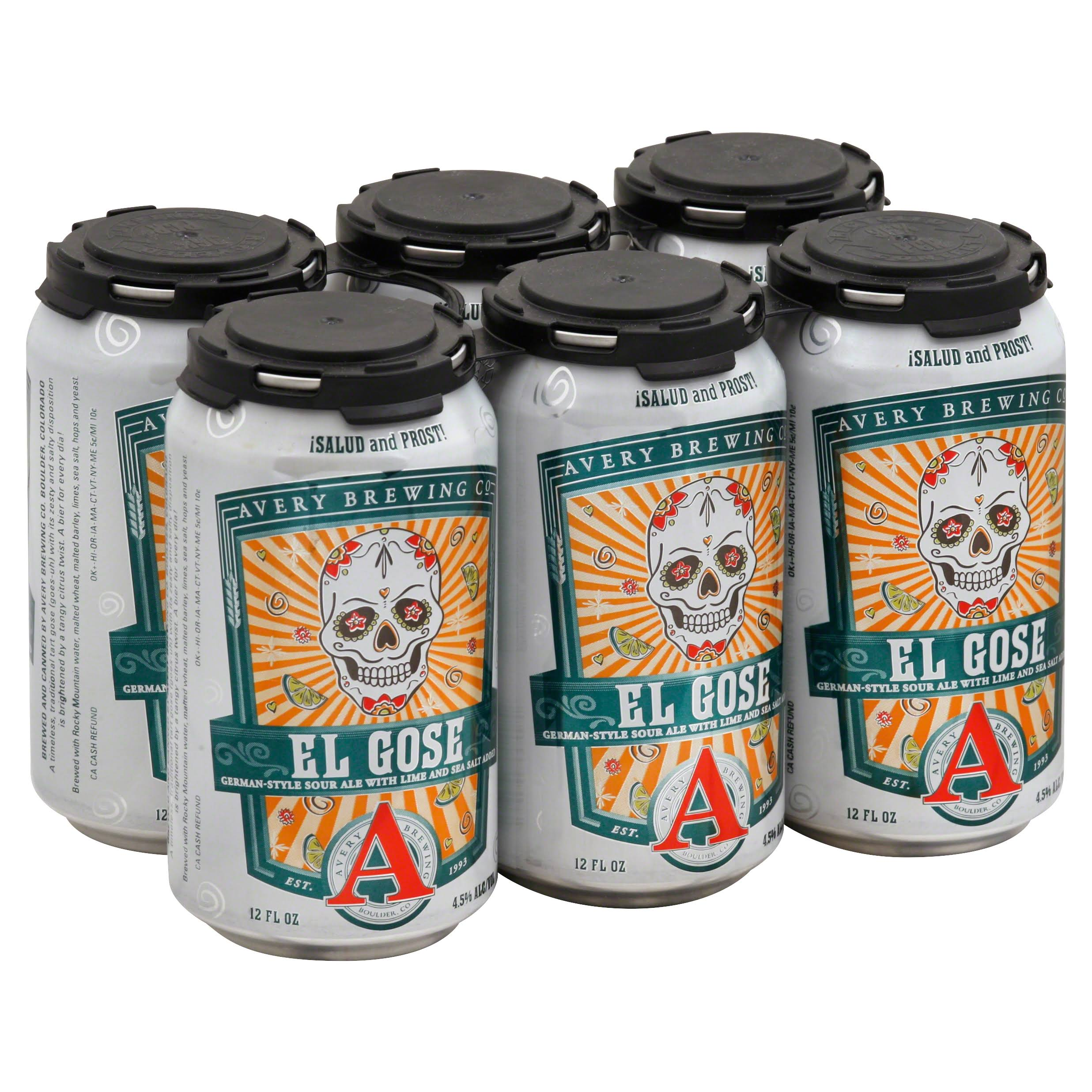 Avery Brewing Beer, El Gose - 6 pack, 12 fl oz cans