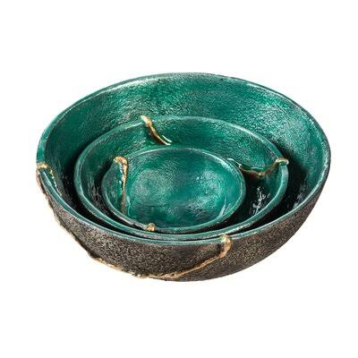 Evergreen Teal Decorative Enamel Bowl - Set of Three One-Size