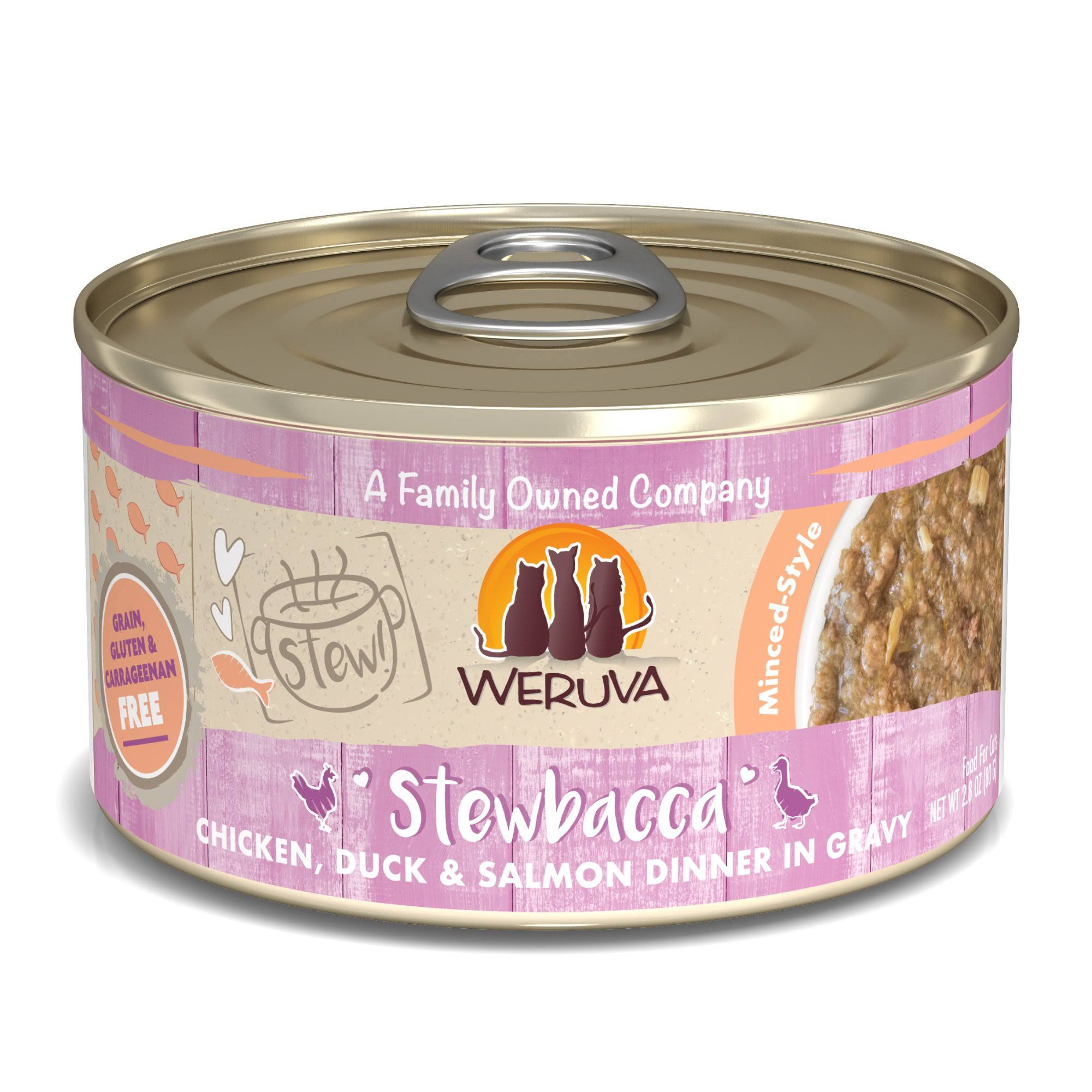 Weruva Stew! Stewbacca Chicken, Duck & Salmon Dinner in Gravy Food for Cats - 2.8 oz