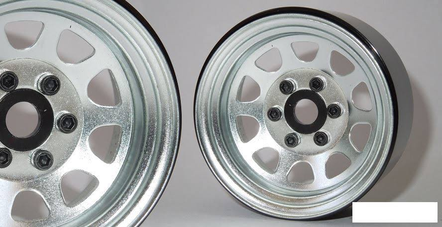 "SSD 1.9"" Steel Stock Beadlock Wheels Silver SSD00278 D Hole RC4WD D90 SSD-RC"