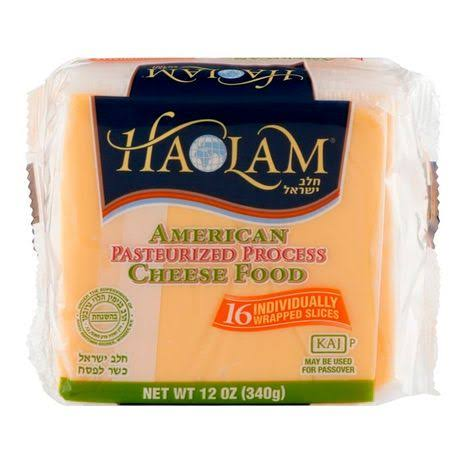 Haolam Yellow American Cheese, Slices - 16 count, 12 oz packet