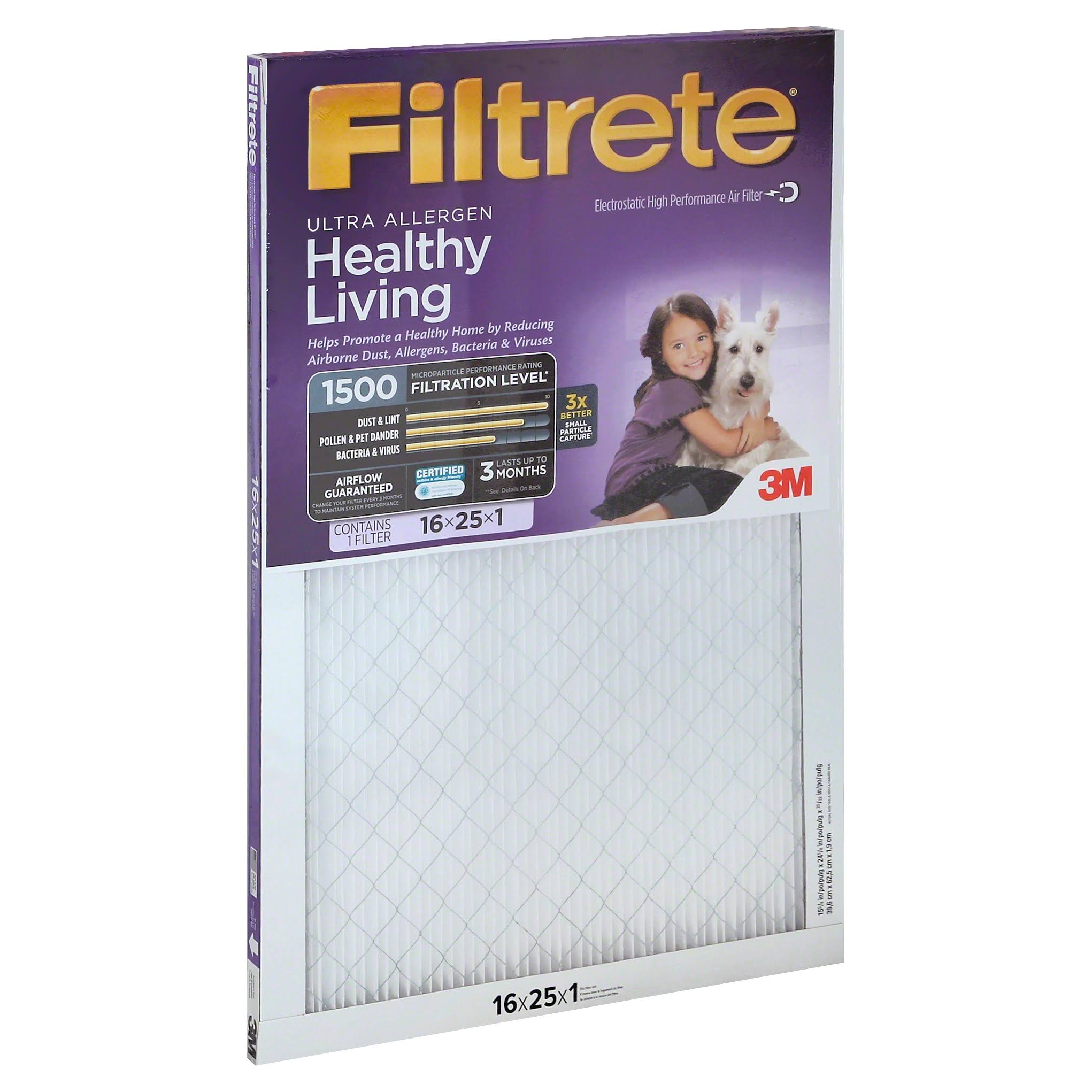 "3M Filtrete Air Cleaning Filter - Ultra Allergen, 16""x25""x1"""