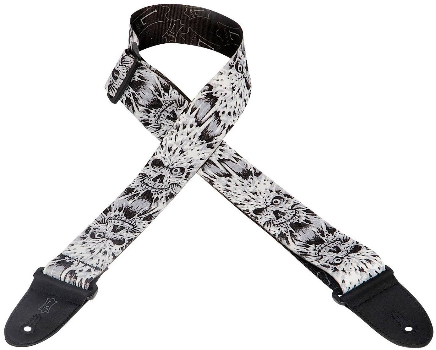 Levy's MP16 Polyester Guitar and Bass Strap - Electric Skulls, 2""
