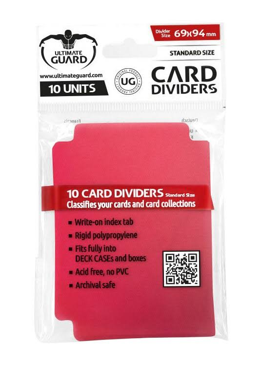 Ultimate Guard Card Dividers - Red, 10 Pieces