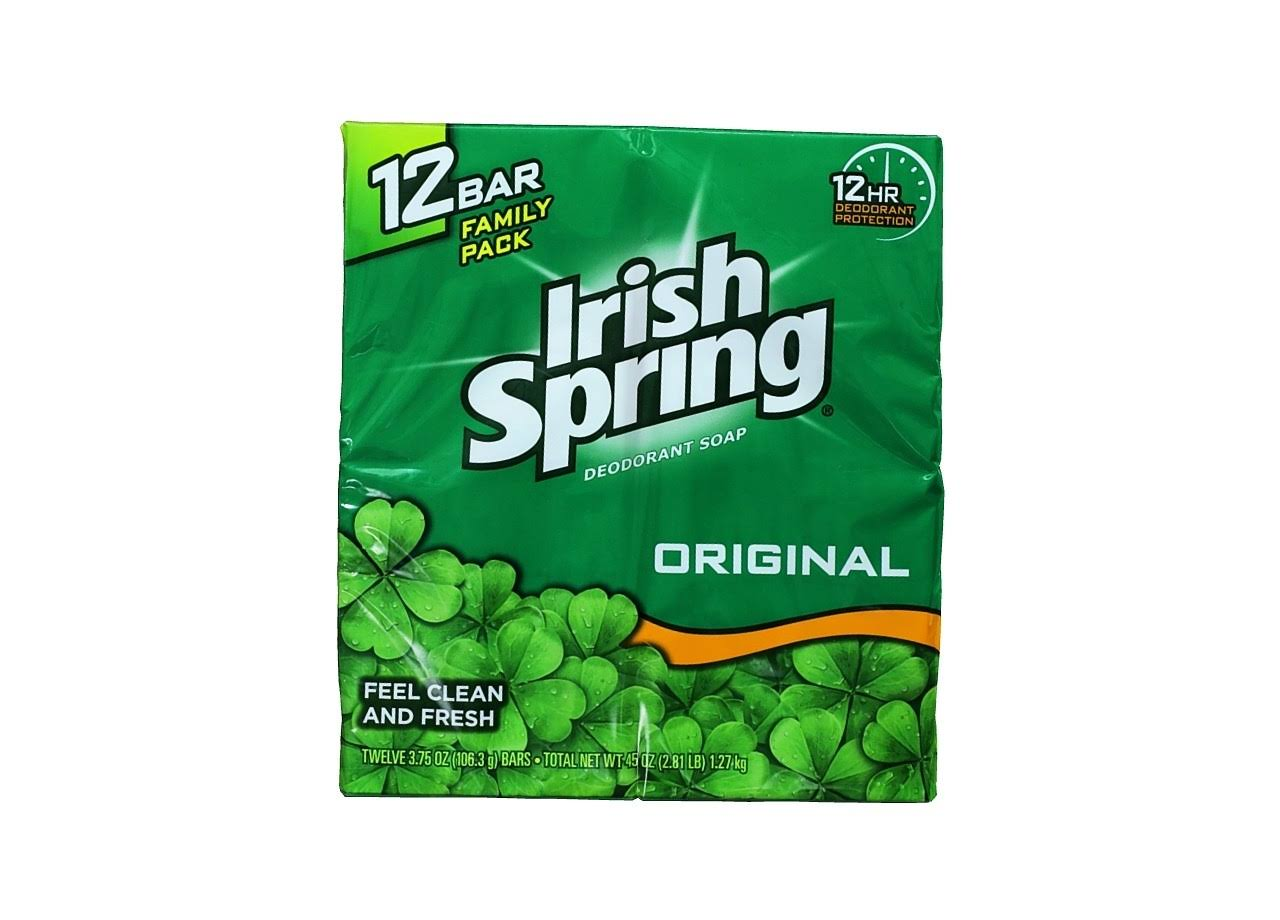 Irish Spring Bath Bar Soap - Original, 3.75oz, 12ct
