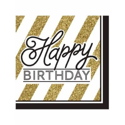 Creative Converting Happy Birthday Paper Lunch Napkins - 16ct, Black and Gold