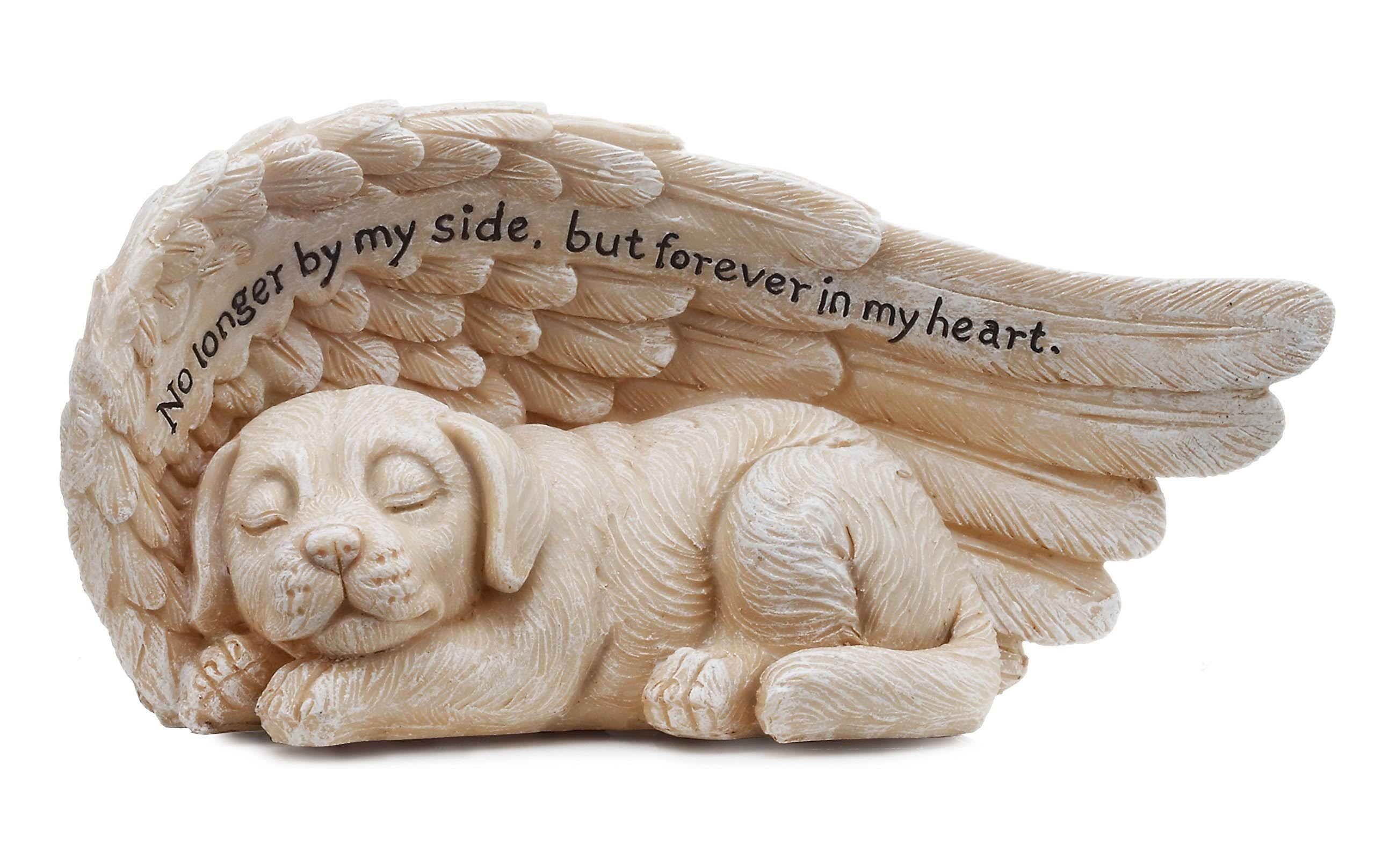 Napco 11146 Small Sleeping Dog in Angel's Wing Garden Statue with Inscription, 8