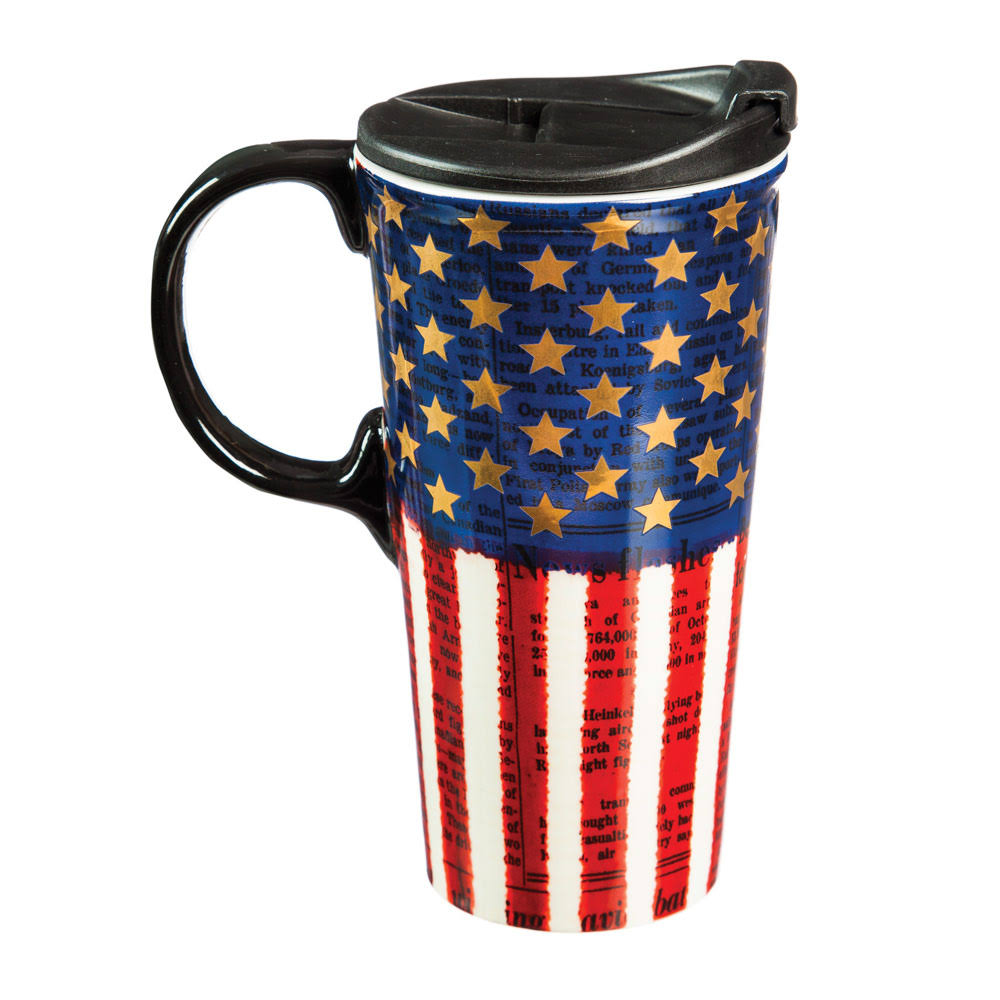 Cypress Home Ceramic Americana Travel Coffee Mug - 17oz